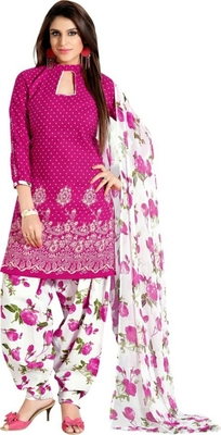 Pink cotton printed semi stitched salwar with dupatta