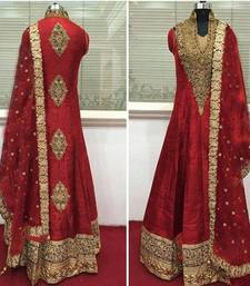 Buy Red cotton silk embroidered semi stitched salwar with dupatta party-wear-salwar-kameez online