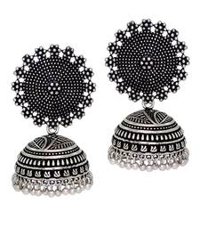 Oxidised Silver Plating Handmade Jhumka Earrings