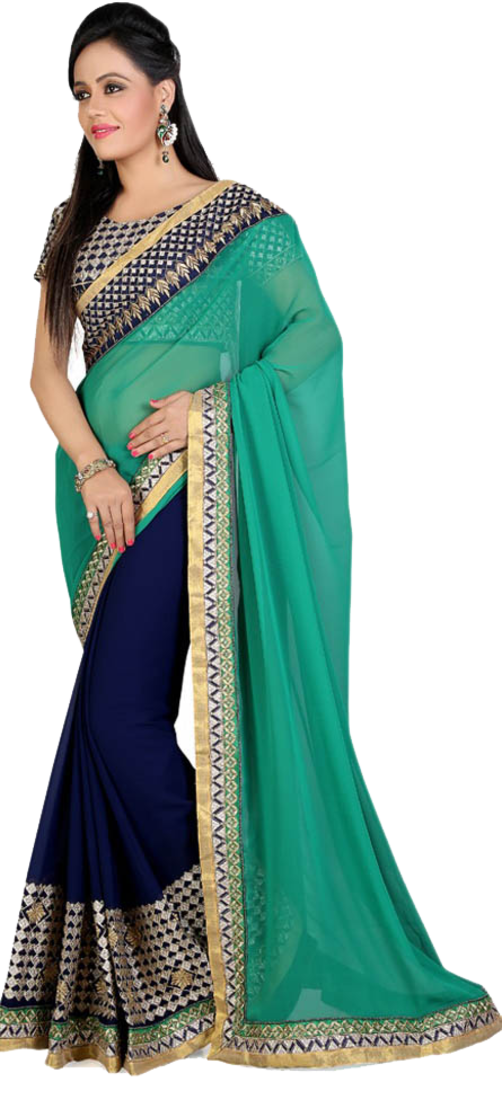 Buy Spacean Hub Designer Green And Blue Embroidered