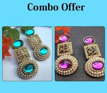 Buy 1 Get 1 Free Pearl Circle Polki Earrings