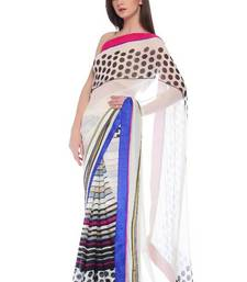 Buy White with polka dots and conceptual border georgette-saree online