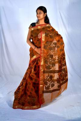 Pure Cotton Anji Ganji Zari Border Saree