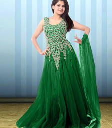 Buy Green net embroidered semi stitiched gown party-wear-gown online