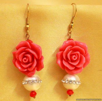 Rose Coral & Pearl Earrings