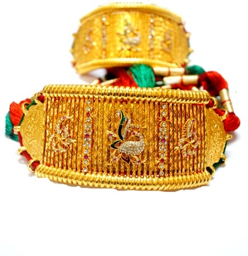Traditional pair of peacock bajuband or armlet with big loom attached at wholesale price