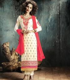 Buy Cream georgette embroidered semi stitiched salwar with dupatta semi-stitched-salwar-suit online