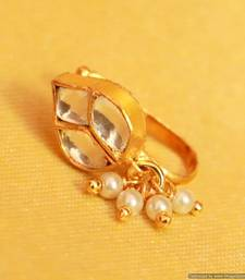 Kundan  And  Pearl Marathi Nose Ring