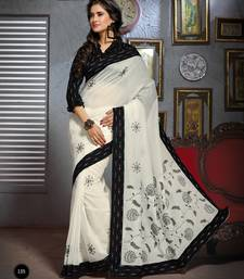 Buy White and Black Embroidered Cotton Saree with Blouse cotton-saree online