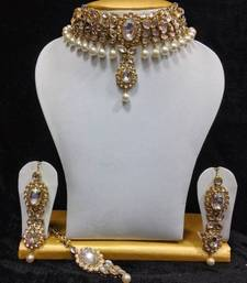 Buy Close Neck Style Kundan Jewelry in White and Pearls eid-jewellery online