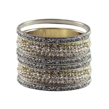 Silver Studded Jewellery Crystal Bangles And Bracelets