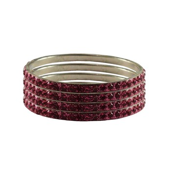 Pink Studded Jewellery Crystal Bangles And Bracelets
