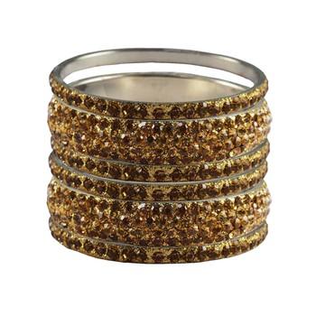 Gold Studded Jewellery Crystal Bangles And Bracelets