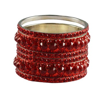 Red Studded Jewellery Crystal Bangles And Bracelets
