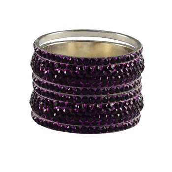 Purple Studded Jewellery Crystal Bangles And Bracelets