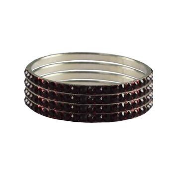 Maroon Studded Jewellery Crystal Bangles And Bracelets