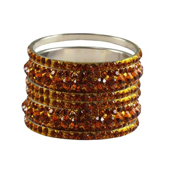 Orange Studded Jewellery Crystal Bangles And Bracelets