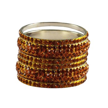 Orange Studded Jewellery Crystal Bangles And Bracelets