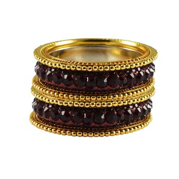 Maroon Studded Jewellery Crystal Bangles And Bracelets