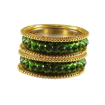 Green Studded Jewellery Crystal Bangles And Bracelets