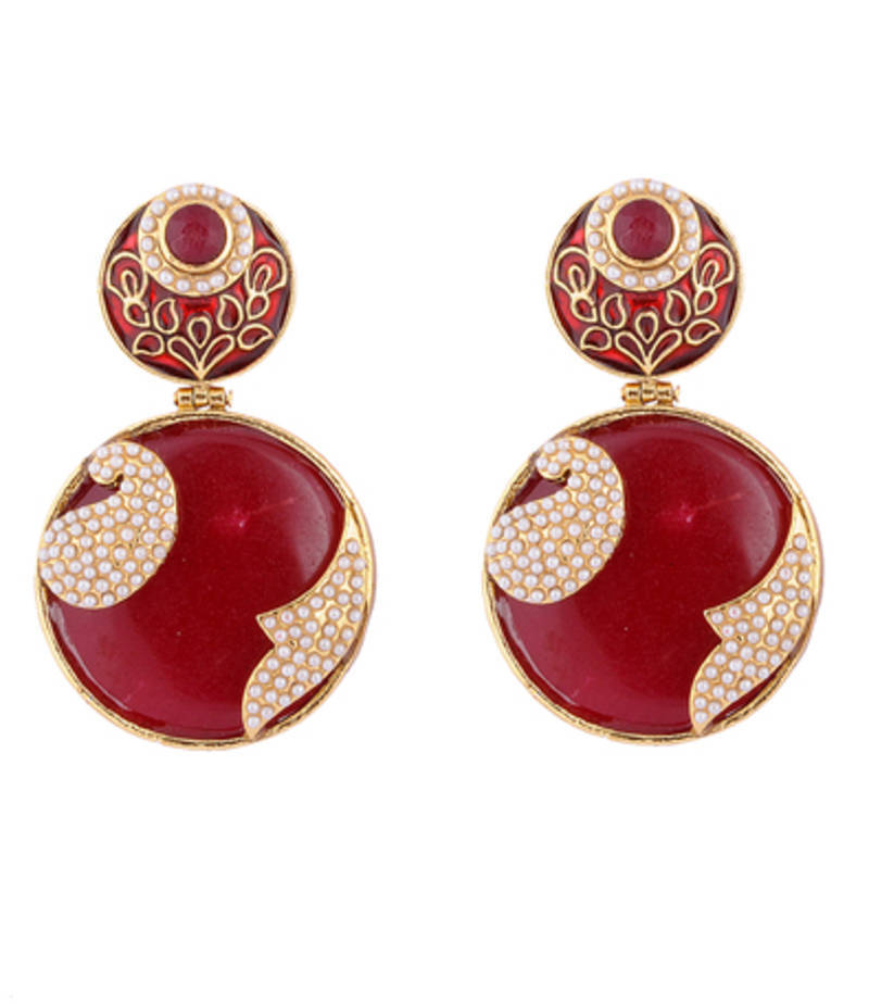 3 8 Red Stone : Buy red stone with pearl work online