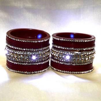 unique lighting bangles set colour red size-2.4,2.6,2.8,2.10