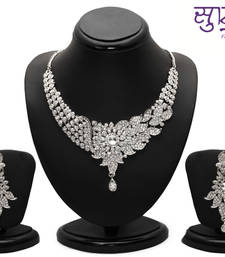 Buy Sukkhi Briliant Rhodium plated AD Stone Necklace Set necklace-set online