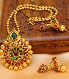 Buy Multicolor gold plated agate necklace set diwali-jewellery online