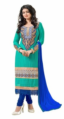 Green embroidered faux georgette unstitched salwar with dupatta