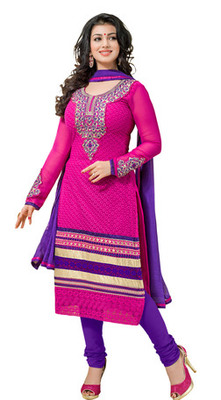 Pink embroidered faux georgette unstitched salwar with dupatta