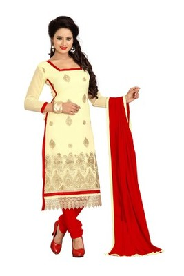 Cream embroidered faux georgette unstitched salwar with dupatta