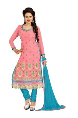 Light pink embroidered faux georgette unstitched salwar with dupatta