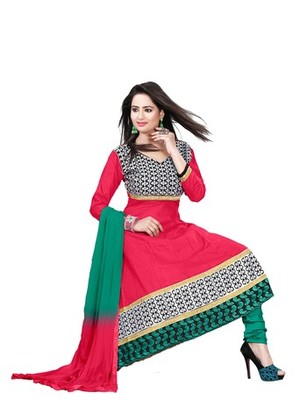 Red embroidered cotton unstitched salwar with dupatta