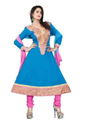 Skyblue embroidered cotton unstitched salwar with dupatta