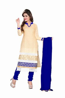 Beige embroidered chanderi unstitched salwar with dupatta