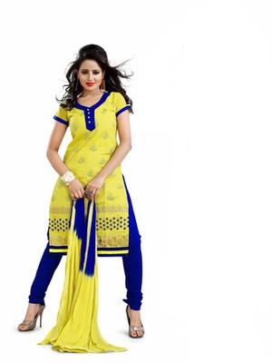 Yellow embroidered chanderi unstitched salwar with dupatta