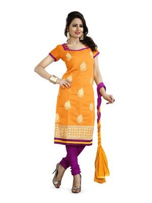 Orange embroidered chanderi unstitched salwar with dupatta