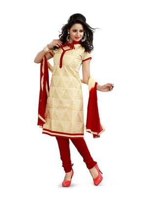 Beige embroidered chanderi unstitched salwar with dupatta