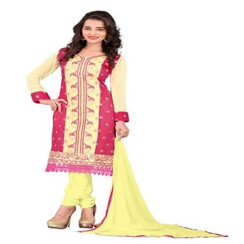 Red yellow embroidered chanderi unstitched salwar with dupatta