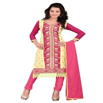 Yellow red embroidered chanderi unstitched salwar with dupatta