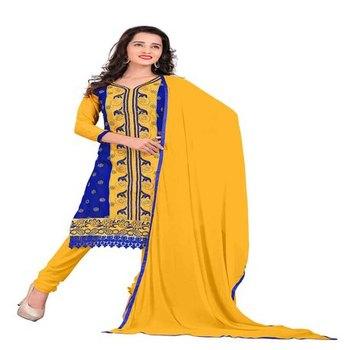 Blue yellow embroidered chanderi unstitched salwar with dupatta