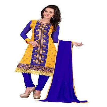 Yellow blue embroidered chanderi unstitched salwar with dupatta
