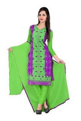 Purple embroidered chanderi unstitched salwar with dupatta