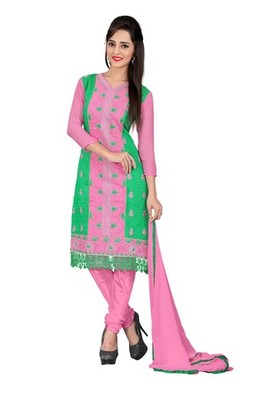 Green embroidered chanderi unstitched salwar with dupatta