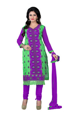 Green purple embroidered chanderi unstitched salwar with dupatta