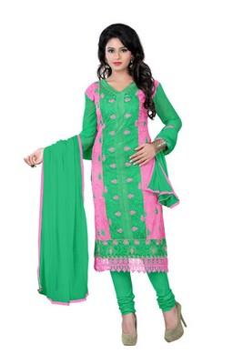 Pink green embroidered chanderi unstitched salwar with dupatta