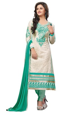 Cream embroidered cotton unstitched salwar with dupatta