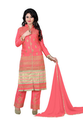 Peach embroidered glace cotton unstitched salwar with dupatta