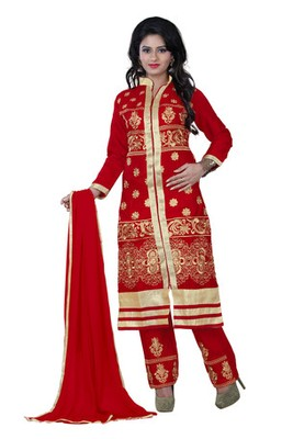 Red embroidered glace cotton unstitched salwar with dupatta
