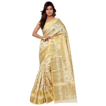 Beige woven tussar silk saree with blouse